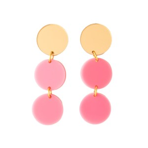 Photo of three-tier pink and mirrored gold acrylic bauble earrings