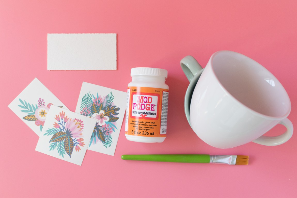 Photo of supplies needed to make custom mugs with temporary tattoos.