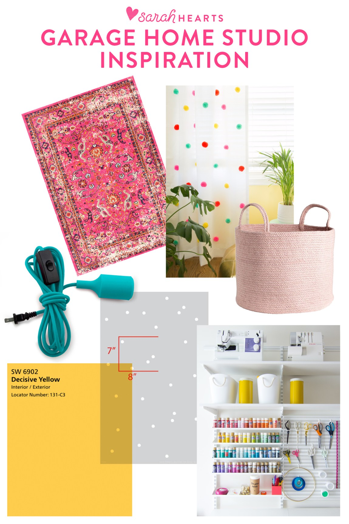 Inspiration board for garage to home office studio makeover