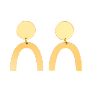 Photo of mirrored gold acrylic u-shaped earrings