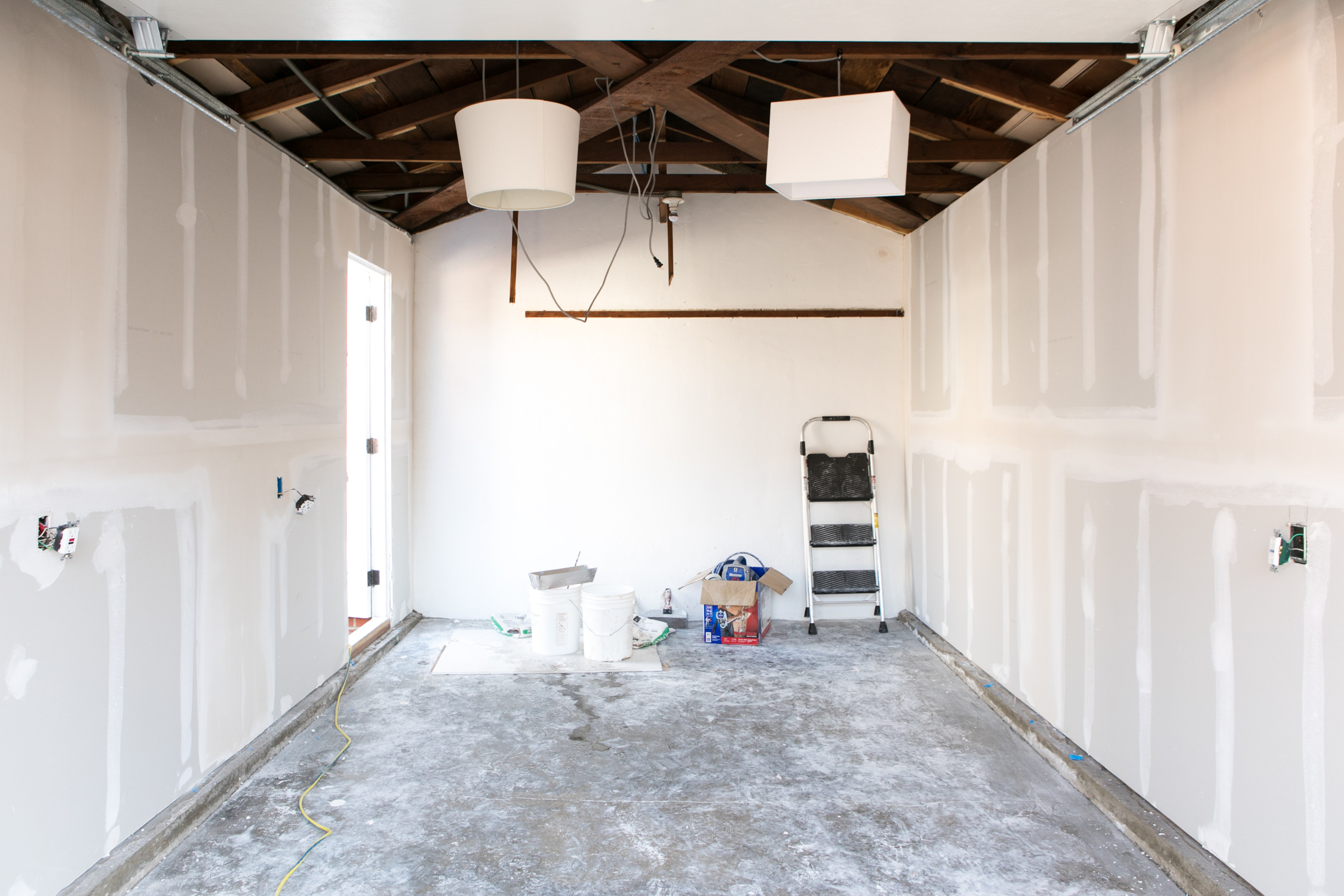 Unfinished drywall in garage