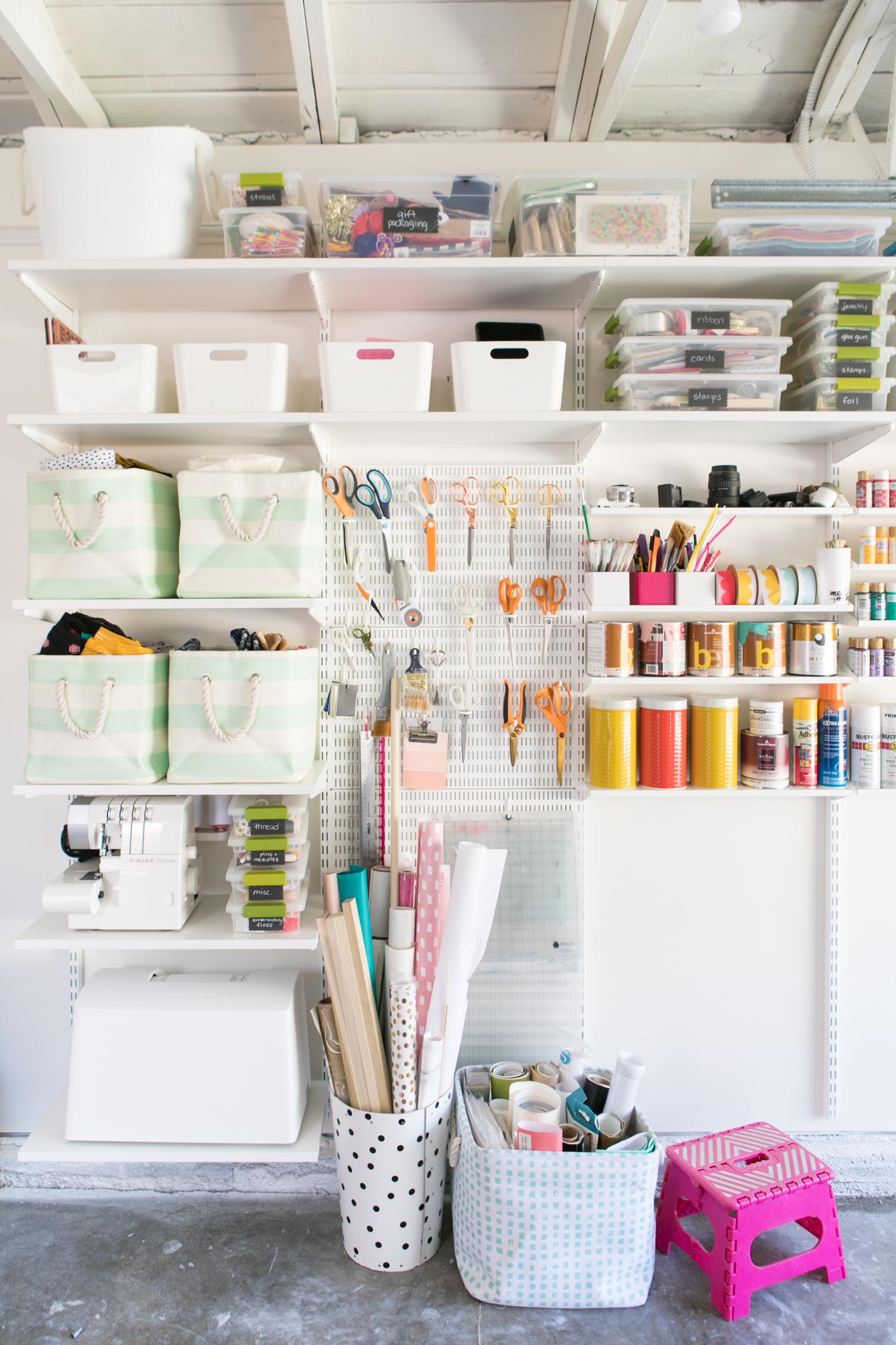 Organized craft room wall