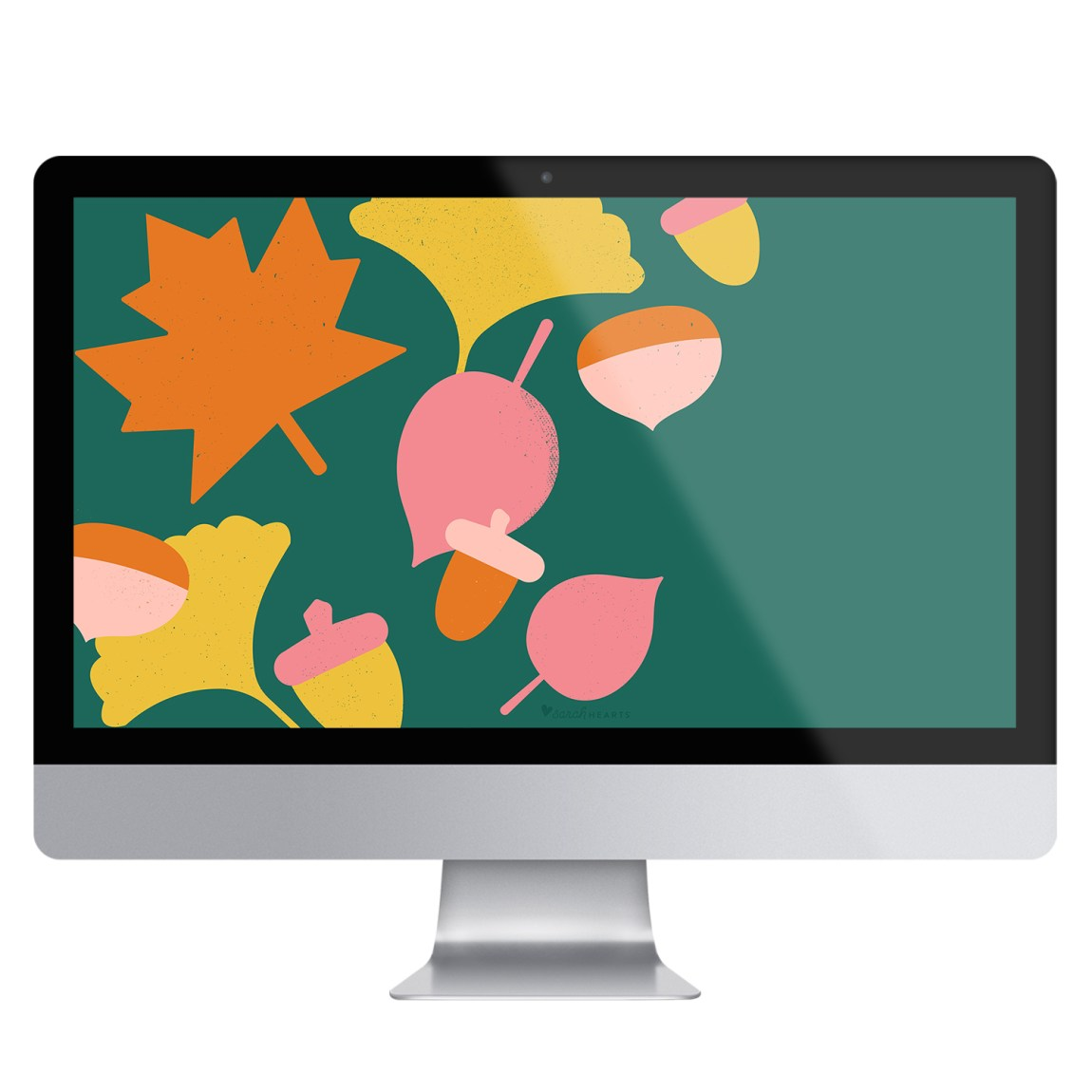 Colorful fall leaf wallpaper graphic as shown on an iMac screen