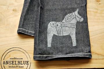 Dala Horse Denim Kitchen Towel