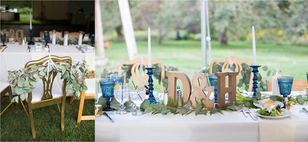 Table Decor with blue and gold Gisland Farm Falmouth Maine