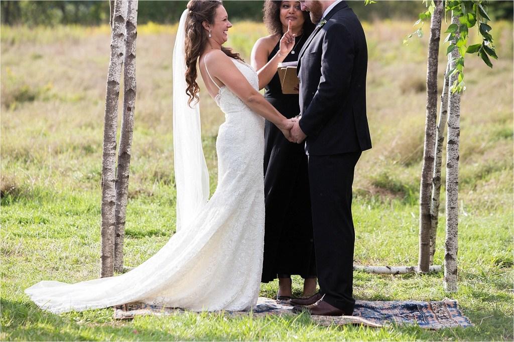 Maine Wedding Ceremony Kissed too soon Gisland Farm