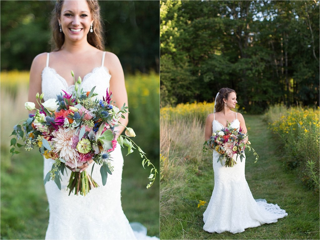 Bridal Portrait Gisland Farm Falmouth Maine Sunset Sarah Jane Photography