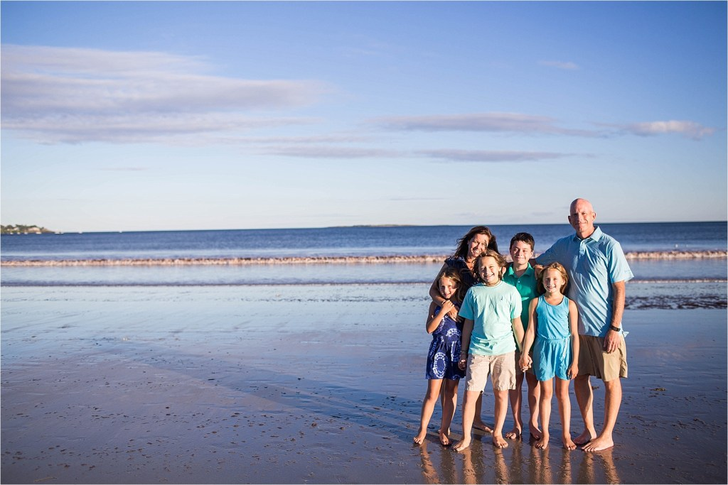 Old Orchard Beach Family Portrait on  beach at sunset Maine Family Photographer