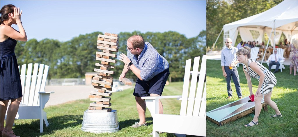 Backyard Jenga Maine Wedding Reception The Homestead at Rest and Be Thankful
