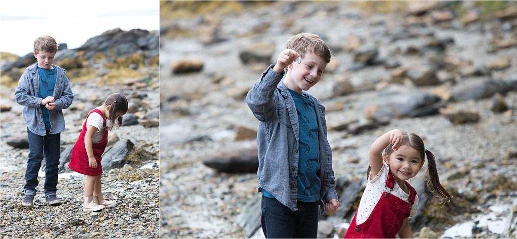 Kids on a rocky beach Freeport Maine