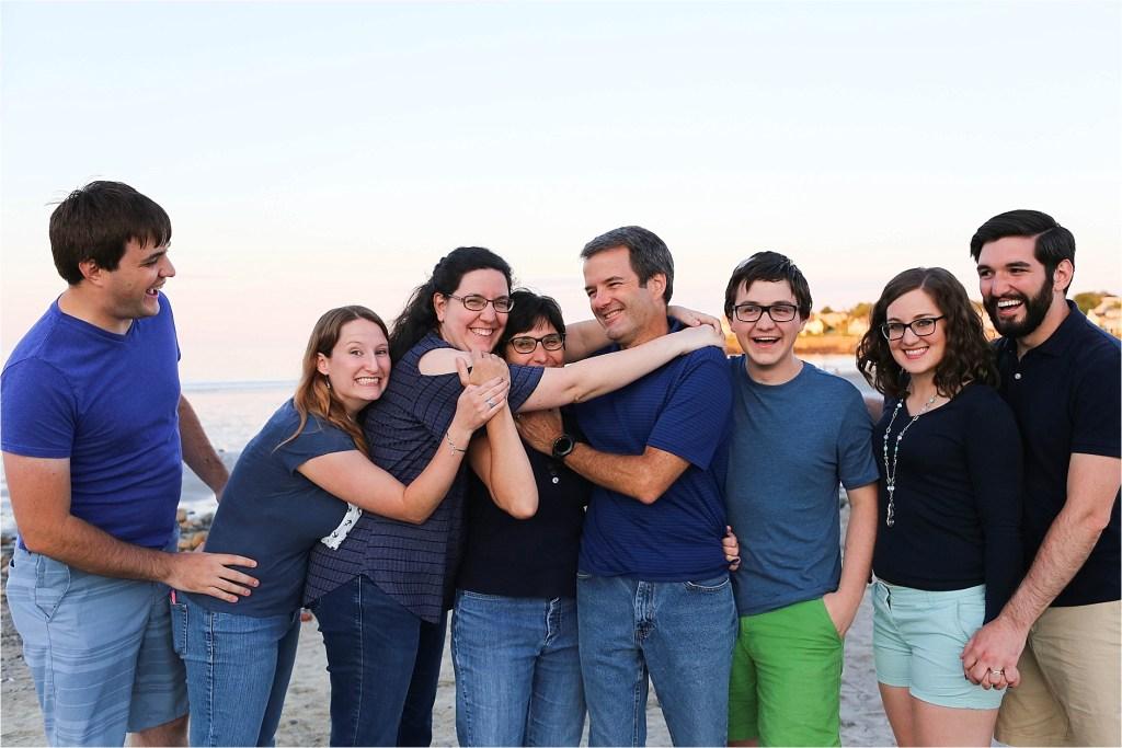 Group Hug Family Portrait Maine Family Photographer
