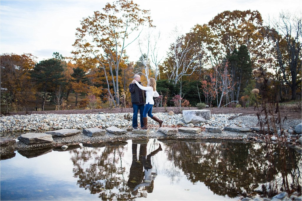 pond at fort williams cape elizabeth maine engagement photo
