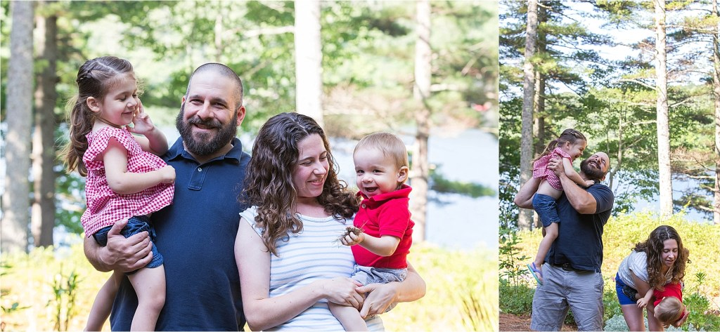 Family of four family portrait Damariscotta Lake Maine