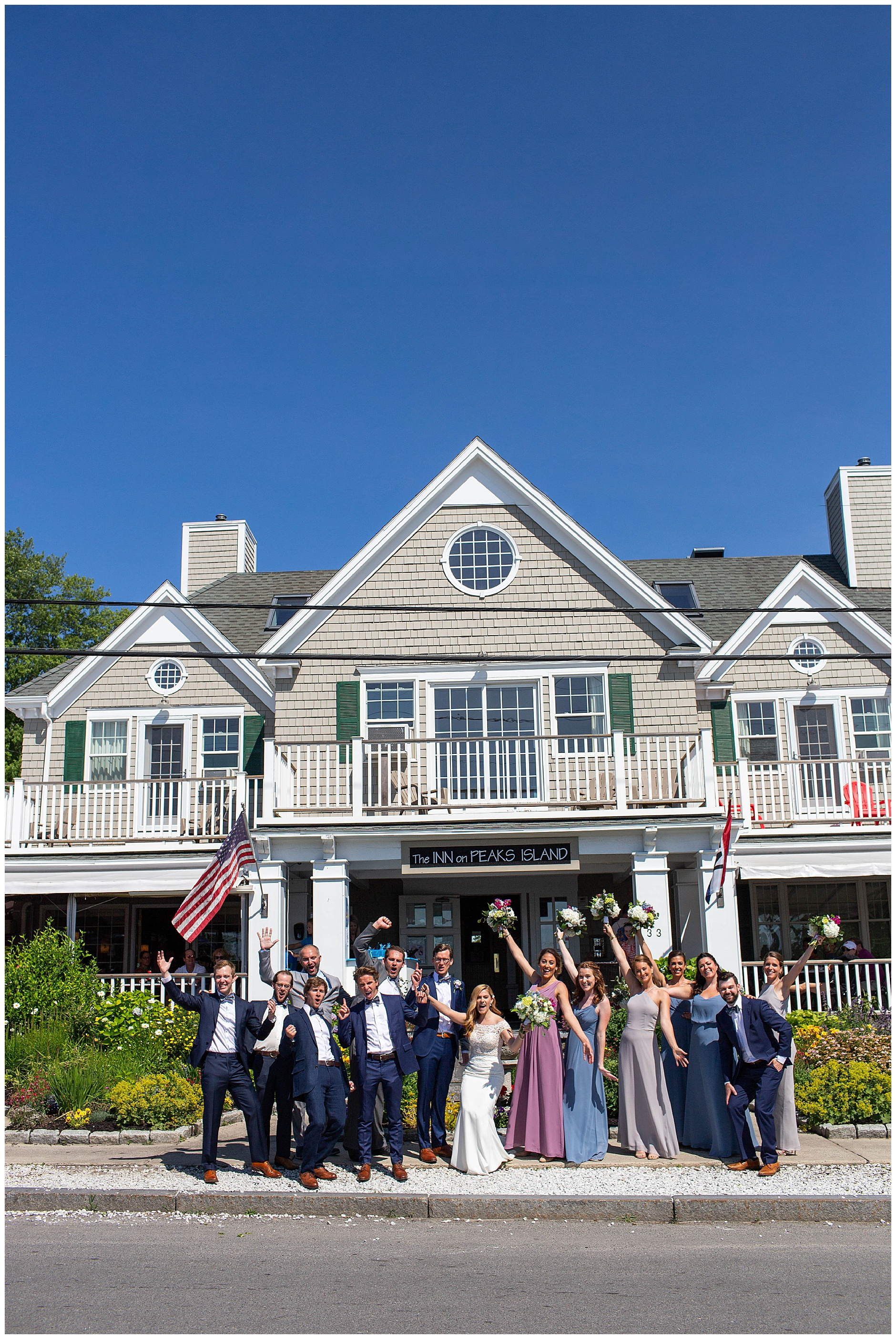 bridal party at Inn on Peaks Island Portland Maine Wedding Photographer