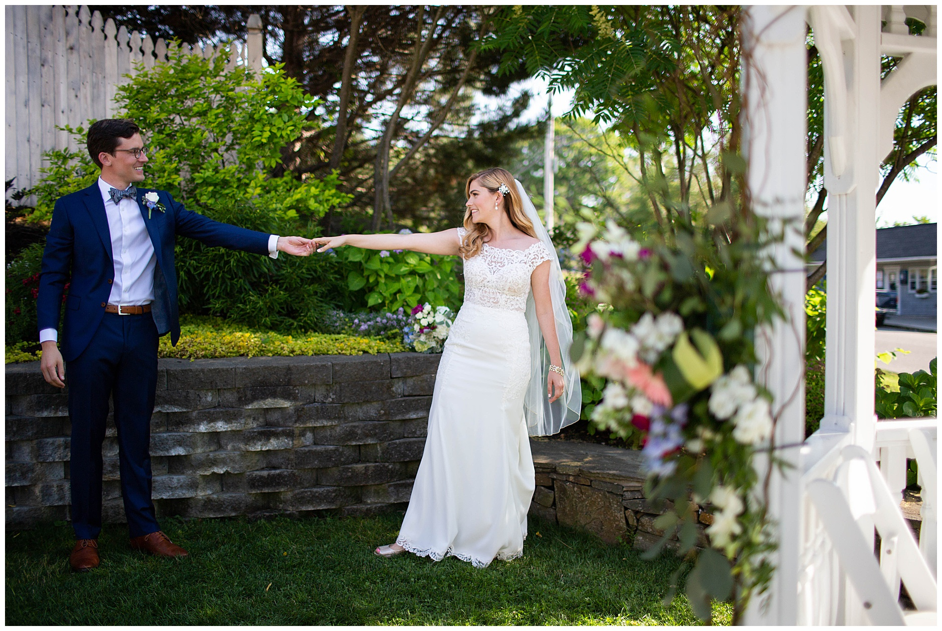 Wedding couple dancing in the garden at Inn on Peaks Island