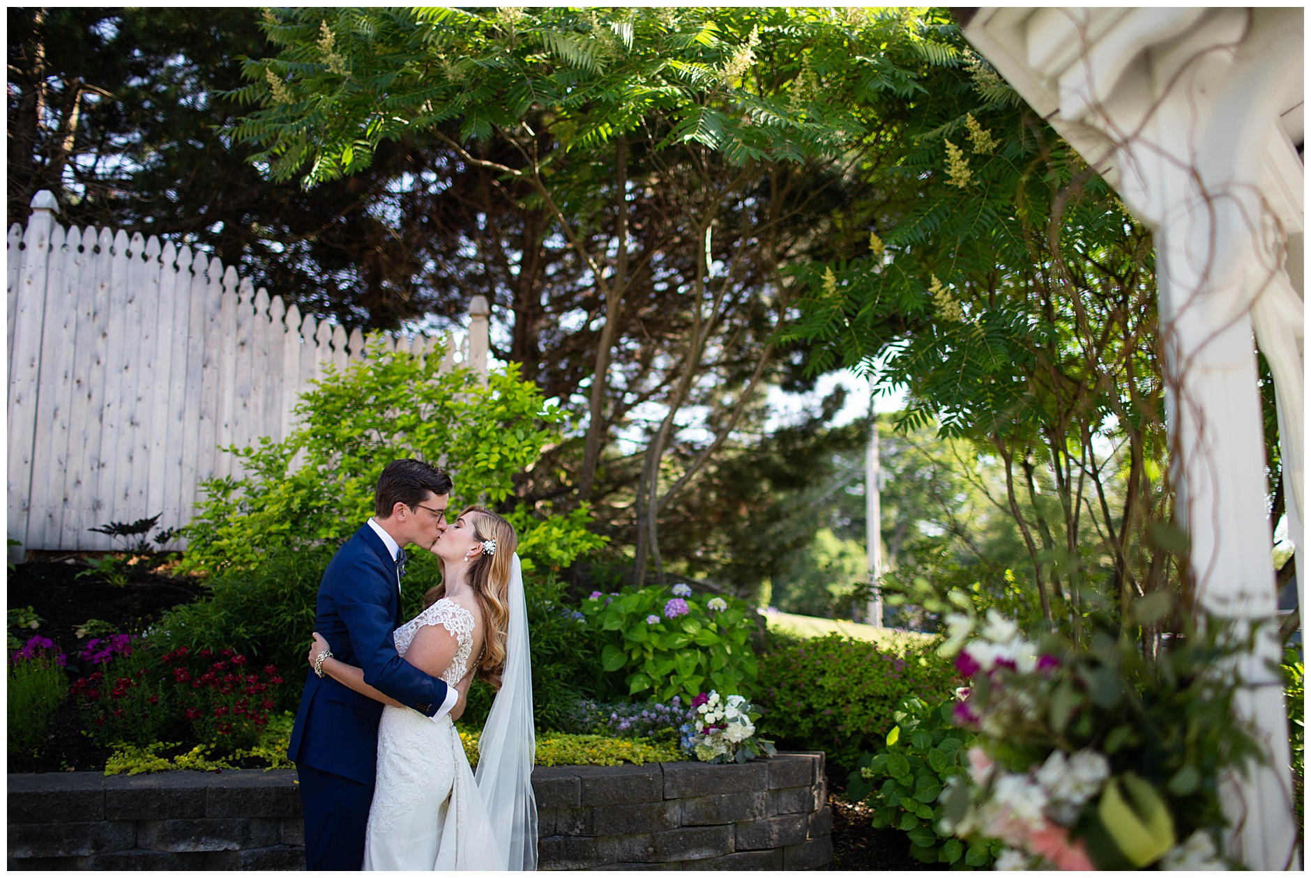 Bride and Groom Portrait at Inn on Peaks Island Wedding Photographer