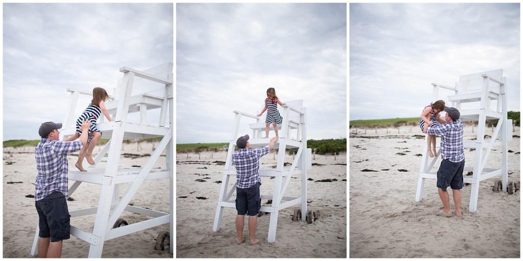 Girl on lifeguard stand at footbridge beach ogunquit maine family photographer