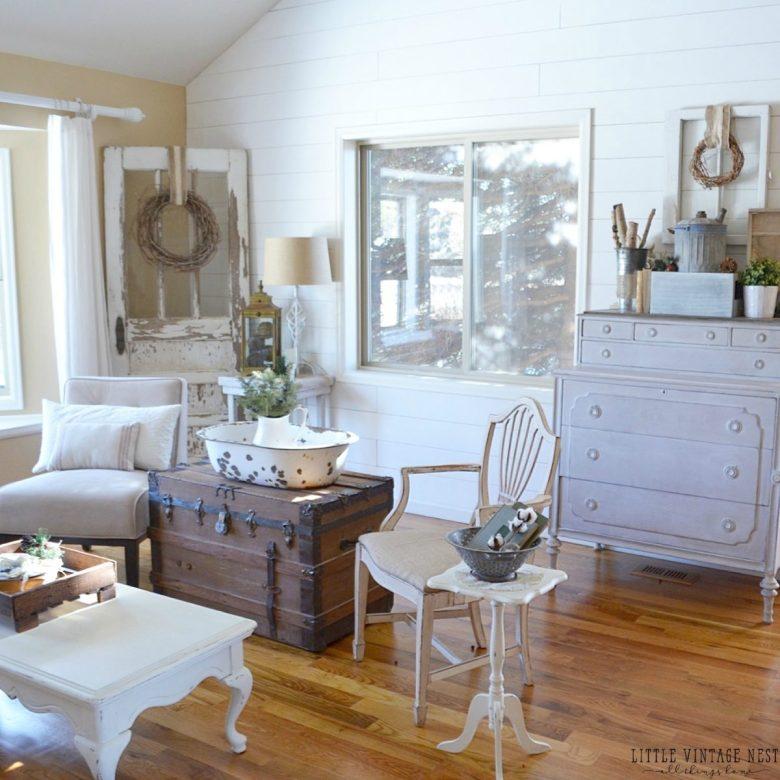 Winter Decor Living Room Farmhouse Vintage Style