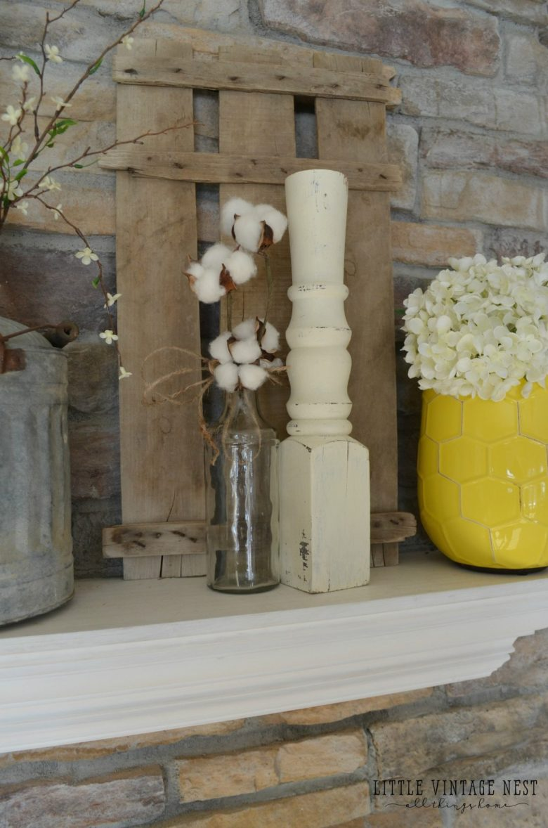 Vintage Farmhouse Spring Mantel with Spindles