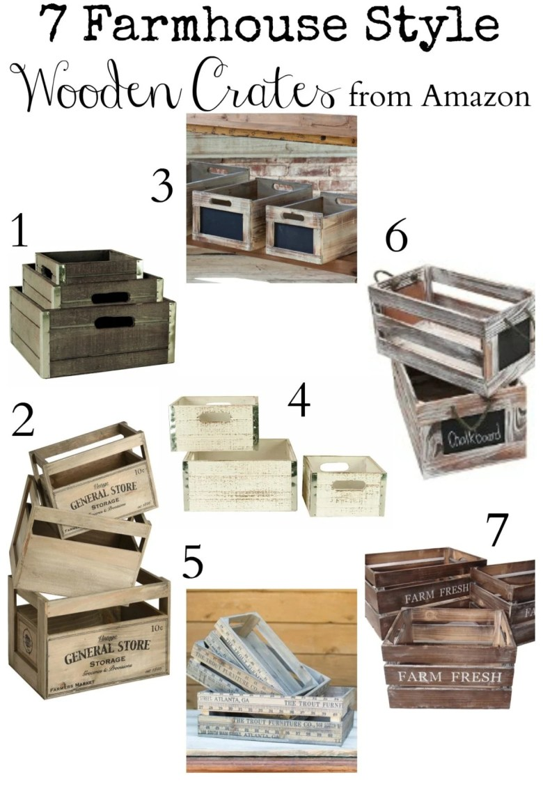 7 Farmhouse Style Wooden Crates from Amazon