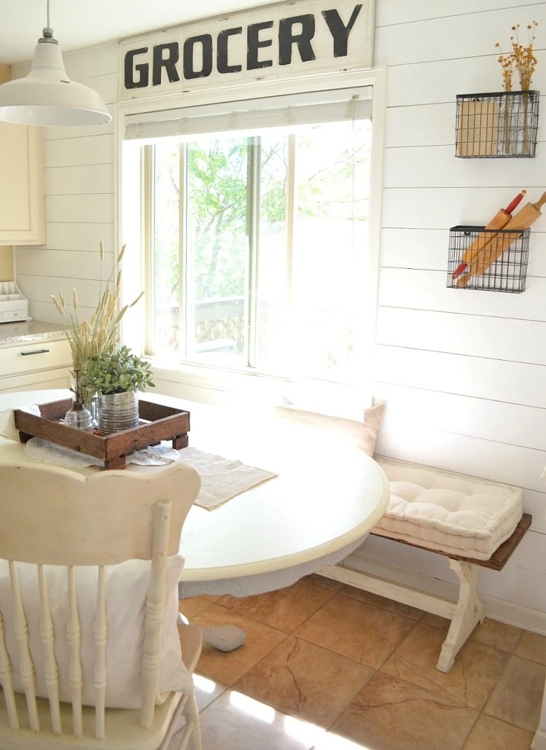 Vintage Grocery Sign Farmhouse Breakfast Nook