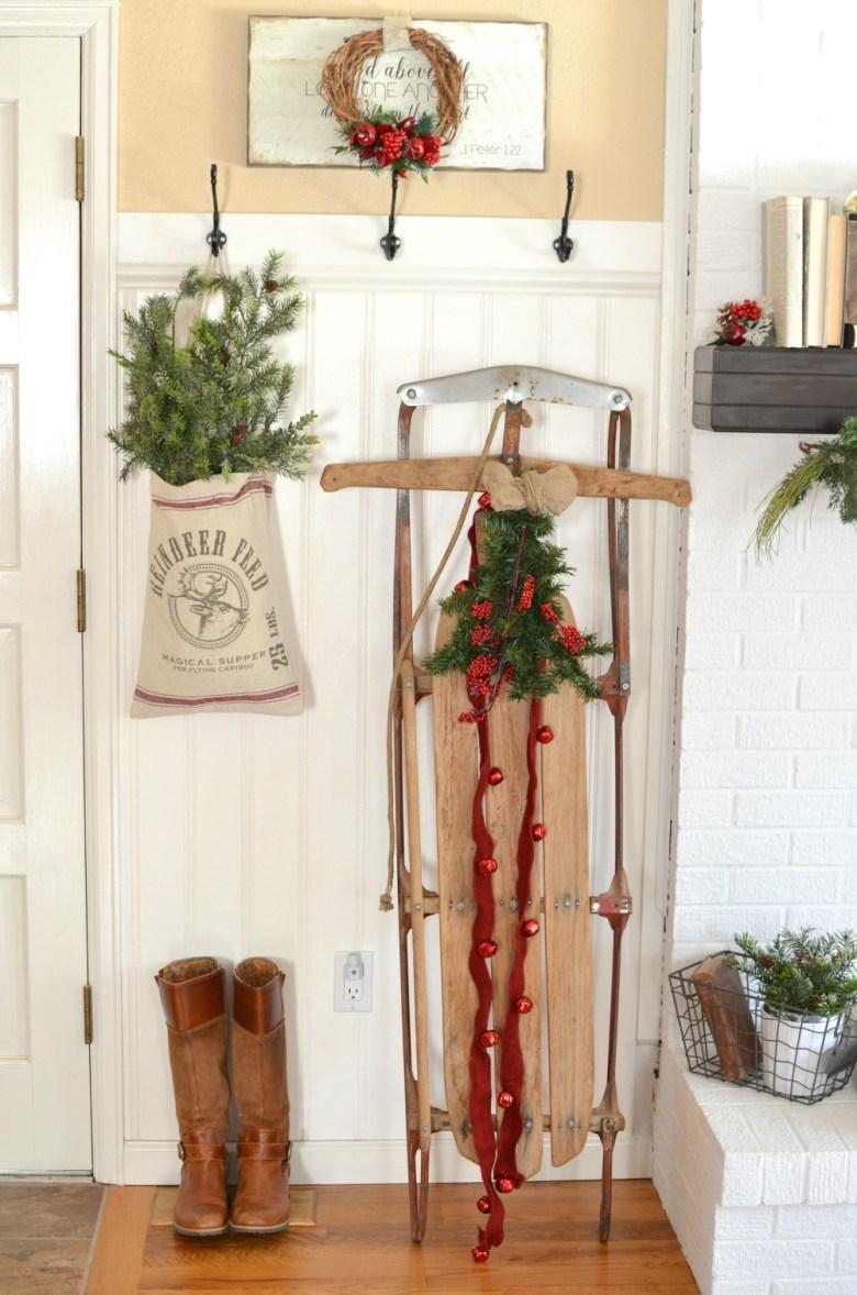 A Vintage Christmas Entryway. Farmhouse Christmas Decor. Vintage Sled Christmas Decor.