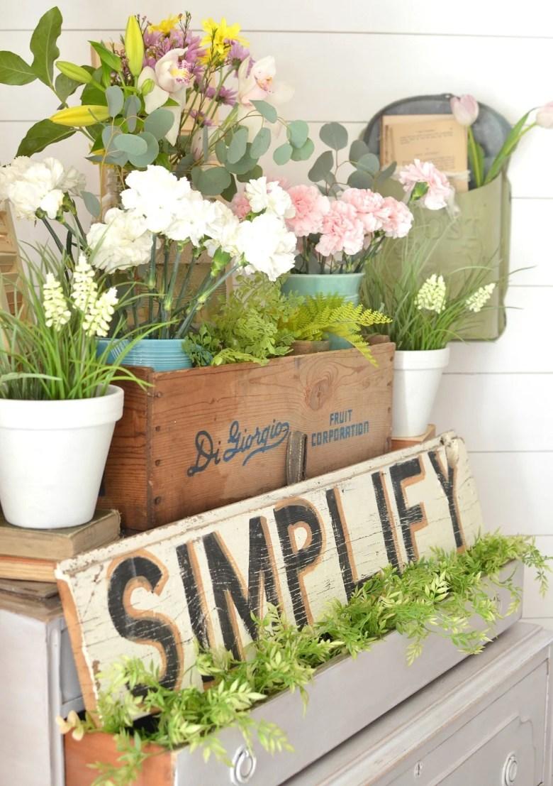 A Vintage Dresser and a Pretty Spring Vignette. Farmhouse style spring decor.