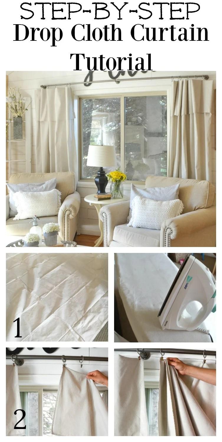 step by step drop cloth curtain tutorial