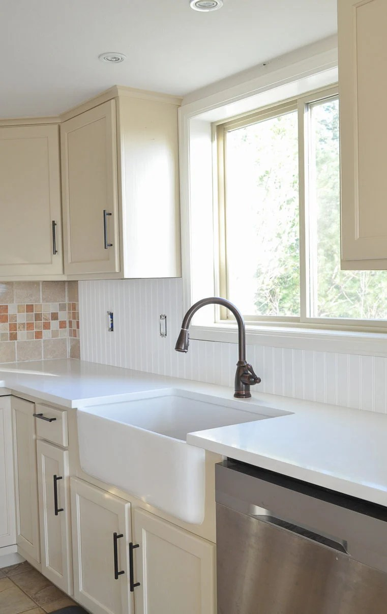 A Step by Step Tutorial to Cover Tile Backsplash with Beadboard