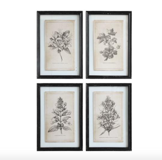 Farmhouse style black accents. Vintage inspired botanical prints.