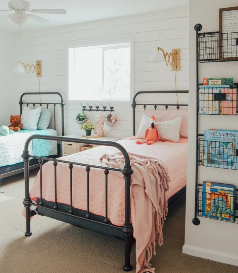 Cottage Style Kids' Bedroom Reveal! Kid's bedroom ideas with shiplap wall and farmhouse style decor..