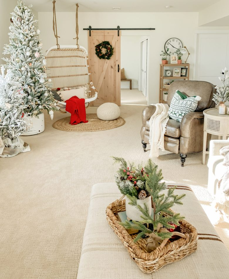 Cozy Christmas Decor in the Basement
