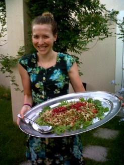 Qunioa lentil tabouleh with pomegranate and greens.