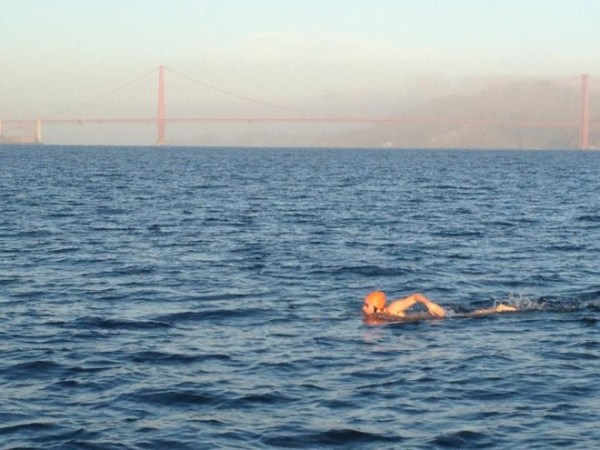 Swimming against the Golden Gate Bridge