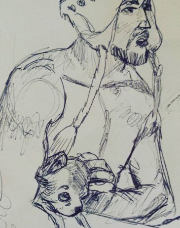 Opinionated bearded man and his small dog