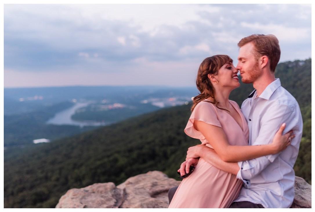engagement photo on sunset rock