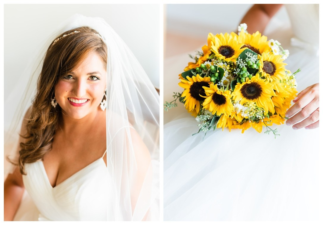 sunflowers and bride