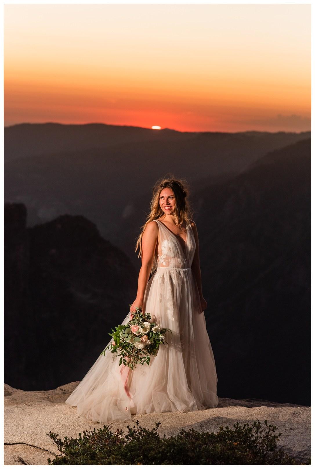 Boho bride at sunset
