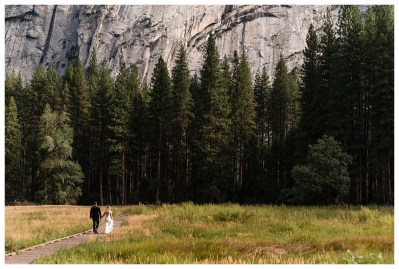 Couple walking in Yosemite VAlley