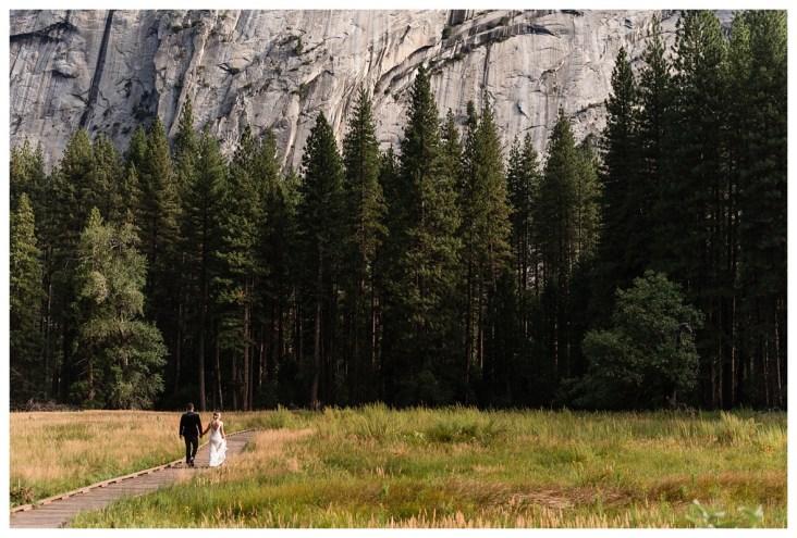 Couple walking in Yosemite VAlley