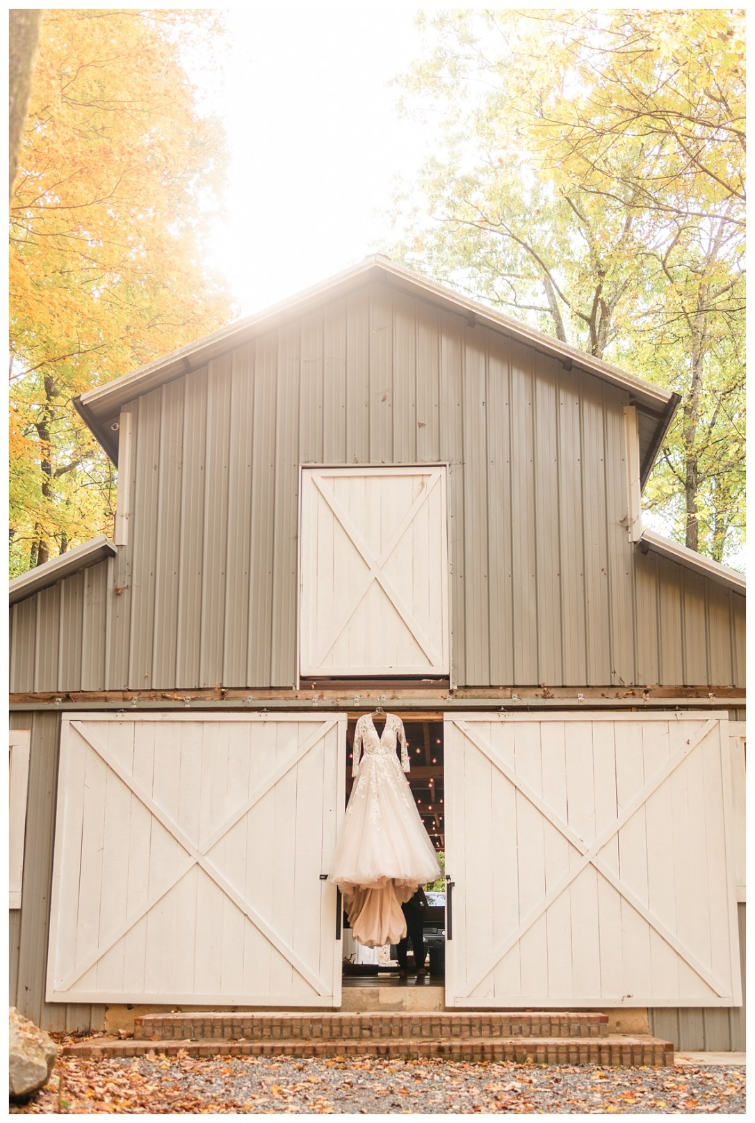 Wedding dress in barn