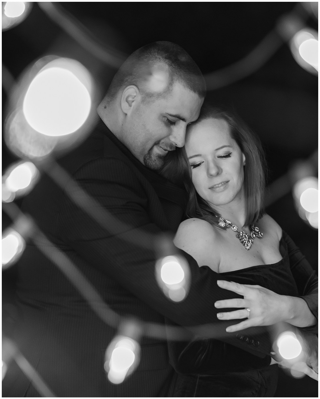 Christmas light engagement photos