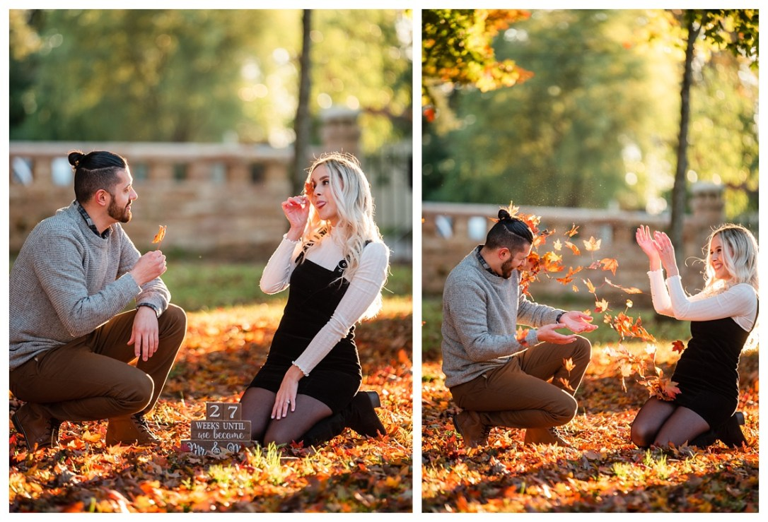 engaged couple throws leaves at each other