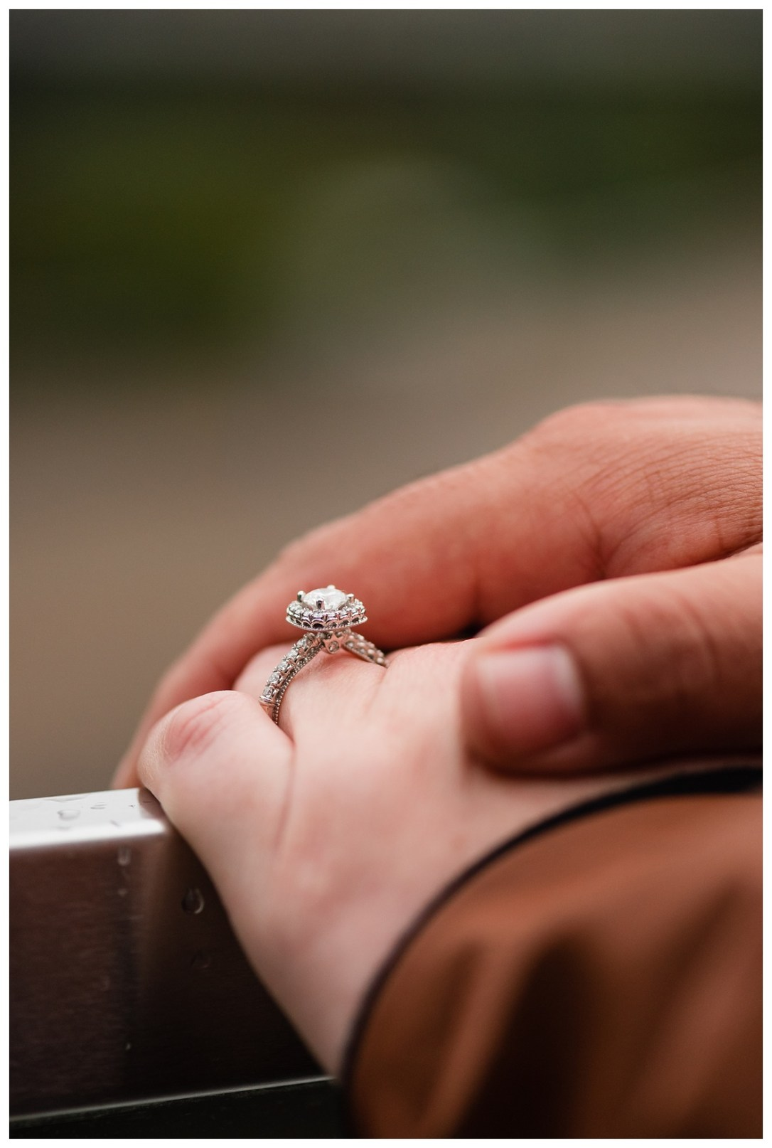 engagement ring with unique setting