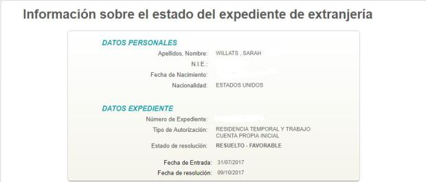 checking paperwork status online Spain