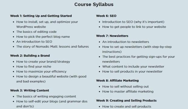 Sneak peek: The Business of Blogging Modules by week!