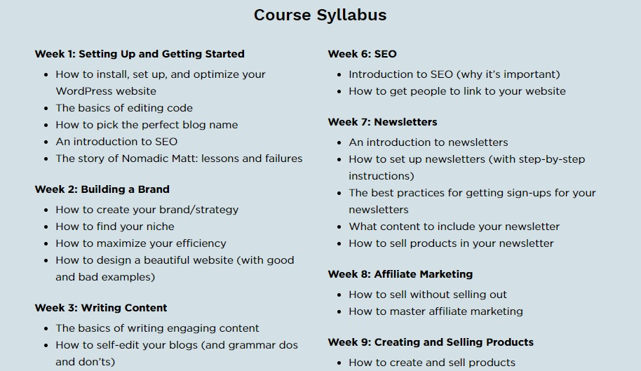 Sneak peek: The Business of Blogging Modules by week!