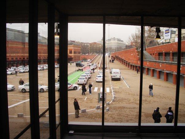 The window near the Departures entrance at Estación Puerta de Atocha in Madrid.