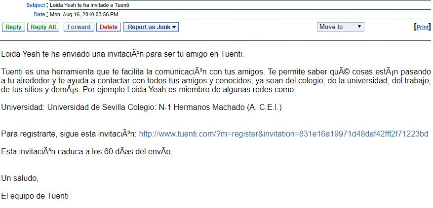 An example of an email invite to Tuenti when it used to be a social networking site.