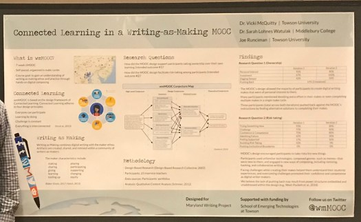 poster presenting findings related to connected learning in the Writing as Making MOOC (wmMOOC)